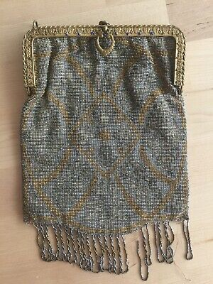 Antique Hand Made Micro Beaded Small Purse Bag Brass Frame, Vintage Victorian?