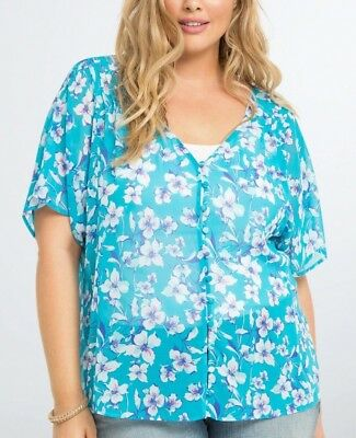 TORRID Top 2X 3X Blouse Blue/Pink Floral Chiffon Plus Size Sheer Shirt Hi-Lo NWT