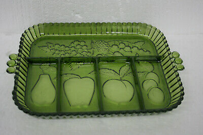 Vintage 1960's Indiana Glass Co. 5 part Relish Dish Olive Green Glass #0856