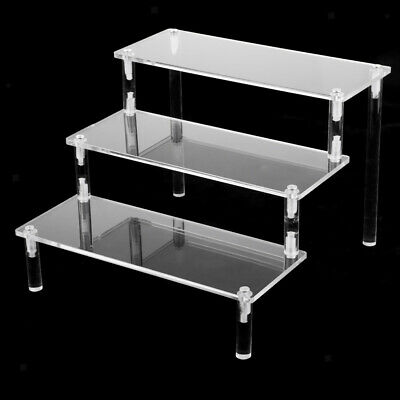 Deluxe Acrylic Display Stand Removable Rack for Model Figures Perfume 3 Tier