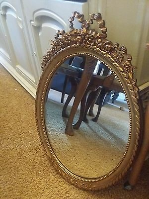 Vintage Ornate Baroque Rococo French Mirror Large Oval Mirror Shabby Chic