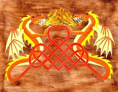 Fire Breathing Dragons Celtic Knot Acrylic Painting