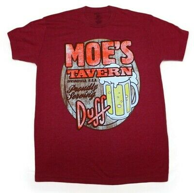The Simpsons Moes Tavern T-Shirt Heather Red Distressed Cartoon Tv Show Tee