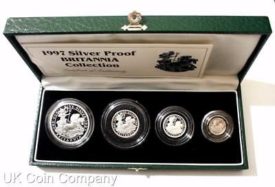 1997 Britannia Fine Silver Proof Four Coin Collection Boxed & Certificate