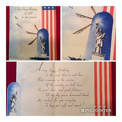 WWII US Soldier Unused Novelty Greeting Card~Birthday ~Airplanes & Ship (aXYZ)