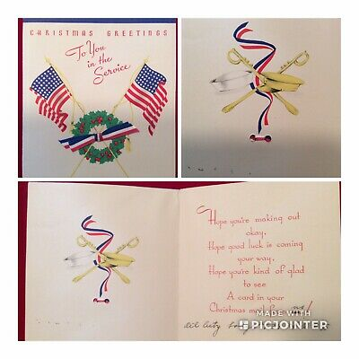WWII US Soldier Signed Novelty Greeting Card~ Christmas Greetings (aW)