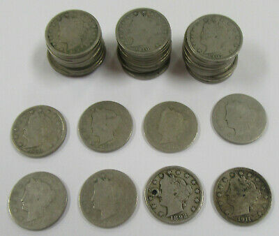 1883-1912 Liberty Head Nickel Lot of 38 - Includes Good Mix & Better Dates