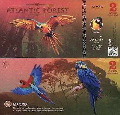 ATLANTIC FOREST - 2 aves dollar 2016 FDS UNC