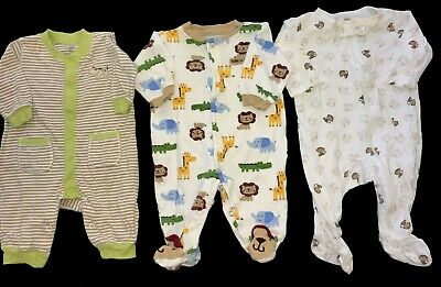 884e07d6818f6 4 PC BABY BOYS SLEEPERS size 3 month CARTER'S cars stripes MONSTERS ...