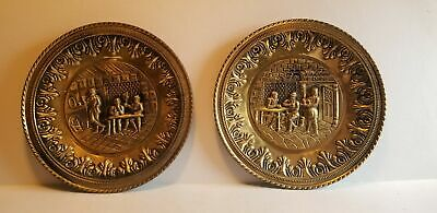 2 Vintage Peerage Embossed Brass Wall Plates Made in England Tavern Pub Scene