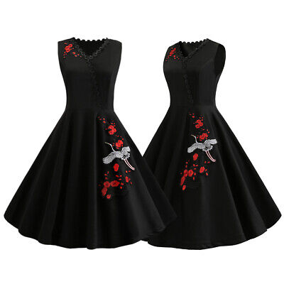 1dfda54484f Womens Embroidery Vintage 50s Style Rockabilly Prom Party Evening Swing  Dresses