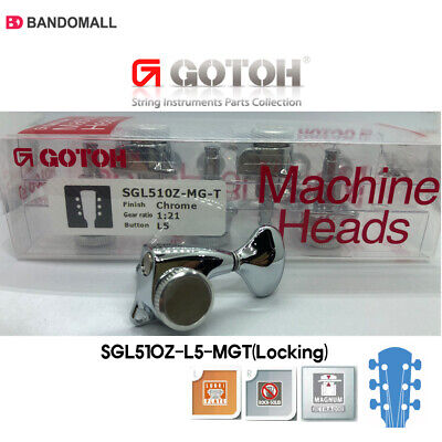 Gotoh SGL510Z-L5 MGT Locking 1:21 Gear ratio L3+R3 machine heads w/screws Chrome