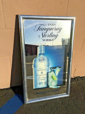 "Vintage Liquor Bar 25"" X 15"" Tanqueray Sterling Vodka  Mirror Wall Sign"