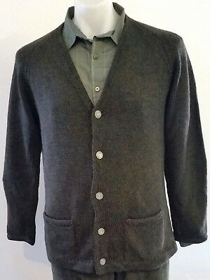 Mens Vintage 80s HAND KNITTED V Neck DARK GREEN Wool Grandpa CARDIGAN size L
