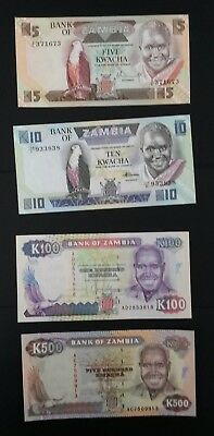 World Banknotes: Bank of Zambia Set of Four Notes 5, 10, 100 & 500 Kwacha Notes