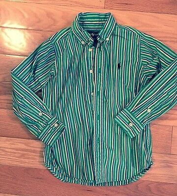 EUC Ralph Lauren Toddler Boy's Multicolored Striped Oxford Cotton Shirt Size 4T