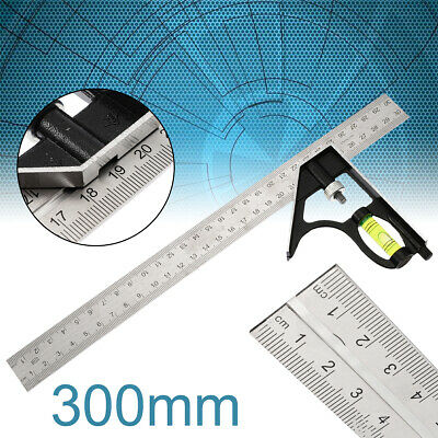 "300mm 12"" Adjustable Engineers Combination Try Square Set Right Angle Ruler US"