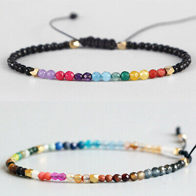 Fashion 12 Constellation Boho Lucky Stone Bracelet 3mm Beads Chakra Bracelets