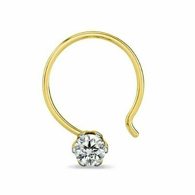 Bridal & Wedding Party Jewelry 1.8mm Real I Diamond Solitaire Nose Stud Piercing Ring Pin Bone 14k Gold