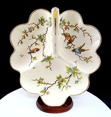 """Franz Ant Mehlem Germany 3 Part Divided Birds On Thorny Branches 11 3/4"""" Dish"""