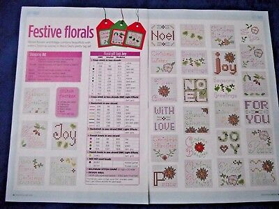 Festive Florals  Winter Flowers & Foliage Christmas Gift Tags Cross Stitch Chart