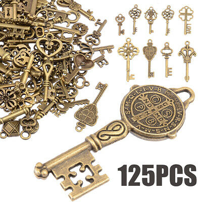 AU 125pcs Vintage Bronze Old Look Skeleton Keys Fancy Heart Bow Pendant Decor