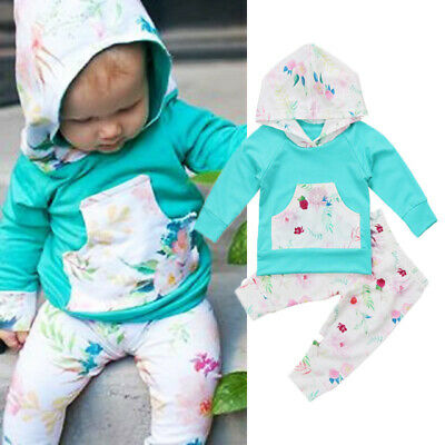 50b5ea3a8ecb Newborn Toddler Baby Girl Hoodie Tops Floral Pants Leggings Outfits Set  Clothes