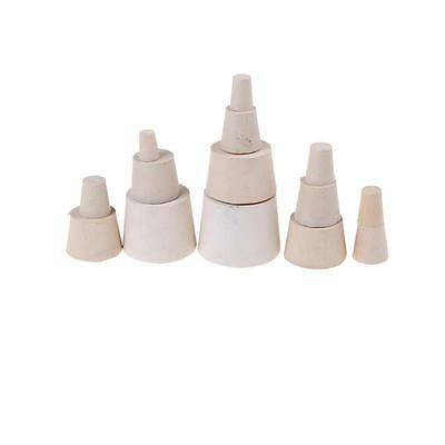 5x Laboratory Rubber Plug Stopper Bungs Flask Tapered Tube Solid White 13 Size H