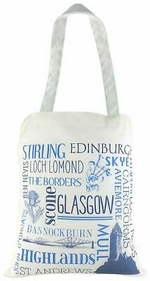 Evans Lichfield Made In Uk 100% Cotton Tote Cloth Shopping Bag Places Scotland