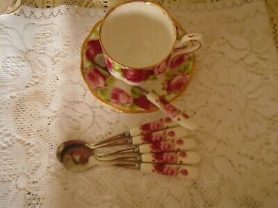 Royal Albert Old English Rose Inspired  Set Of 6 Tea / Coffee Spoons** New
