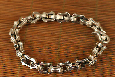 100% fine 925 silver hand carved chinese old bracelet collectable