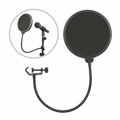 Double Layer Studio Microphone Mic Wind Screen Mask Gooseneck Shied  Filter H