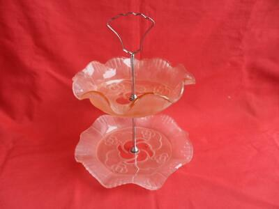 Pink Frosted Glass, Two Tier Cake Stand