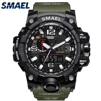 UK Mens Smael Tactical Dual Display shock Digital Sports Divers Watch In Black.