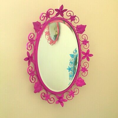 Large Purple 1950's Vintage Wrought Iron Oval Bevel Edge Mirror: Daffodils