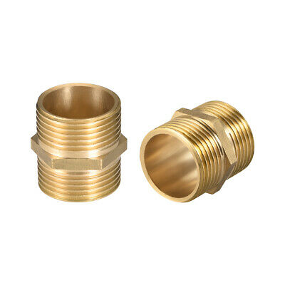 "Brass Pipe Fitting 1/8-1""x 1/8-1""G Male Thread Gold Tone 2/4/8/10/12Pcs"