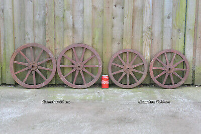 set of 4 vintage old wooden cart carriage wagon wheels wheel - 40 cm / 35.5 cm