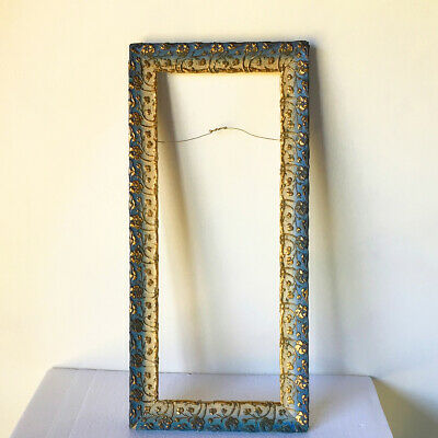 antique Edwardian Victorian gilded picture frame long narrow blue gold painted