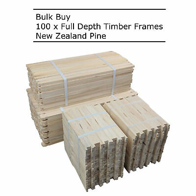 Bulk 100 Pack Full Depth Commercial Grade Timber Beekeeping Frames Wood Beehive