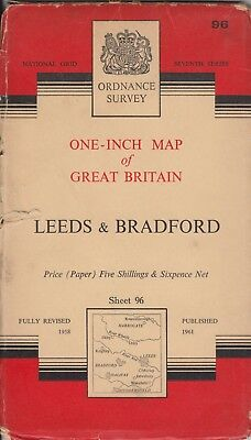 Ordnance Survey One Inch Seventh Series Map No 96 - Leeds and Bradford