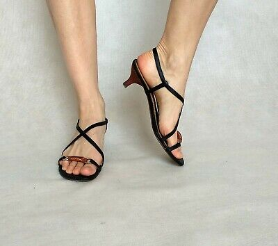 2968f758c Strappy Heeled Sandals EUR 37 UK 4,5 US 7 Black Kitten Heels Small Size