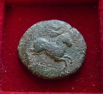 Ancient Greek bronze Æ21 Horseman eagle Athena head