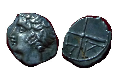 Massalia (Marseilles, France) AR obol-Massalia after 400 B.C. Apollo wheel