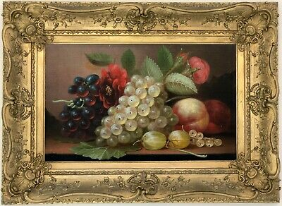 STILL LIFE WITH Fruit Antique Oil Painting Mid 19th Century British School