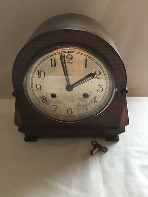 Art Deco MANTEL CLOCK WORKING STRIKING  CLOCK FRONT .GLASS WINDOW KEY PENDULUM