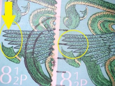 2 Gb Error/variety Used 8.5P Xmas Angel 1975 Sg994 Stamps Thicker Outline Wing