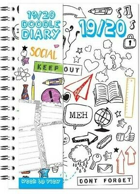 2019 / 2020 - A5 Week to View Doodle Academic Diary Hard Cover Spiral Bound