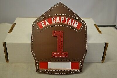 Cairns Ex-Captain Brown Leather Helmet Fronts w/ Red #1