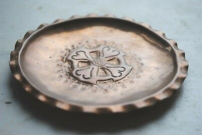 Vintage Arts & Crafts Hammered Copper Pin Dish Celtic Cross by Celtic Copper