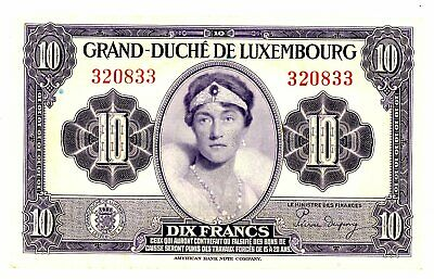 Luxembourg … P-44 … 10 Francs … ND(1944) ... *CHOICE XF-AU *  With out prefix
